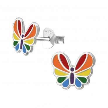 Rainbow Butterfly Ear Studs