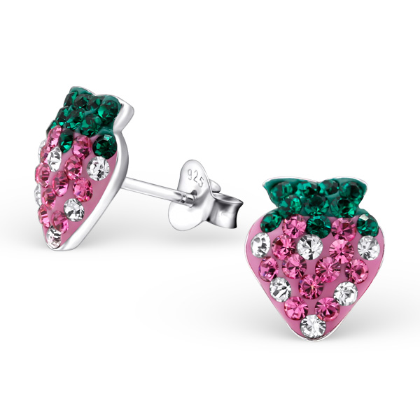 Crystal Strawberry Ear Studs