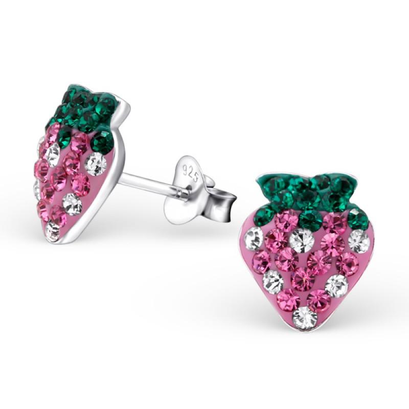 Crystal Strawberry Ear Studs