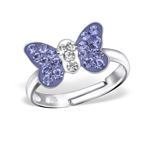 Violet Butterfly Crystal Ring
