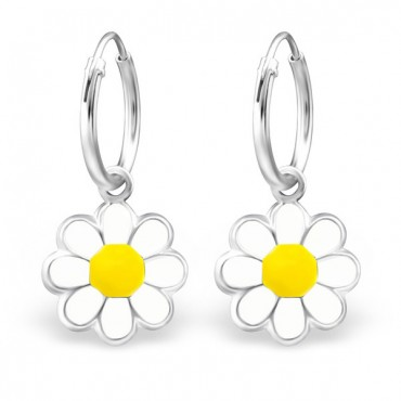 White Yellow Flower Hoops