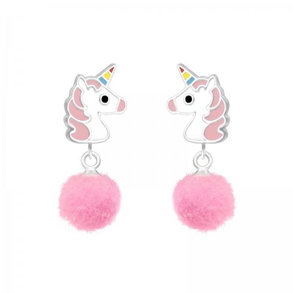 Cute Unicorn with Pom Pom Earrings