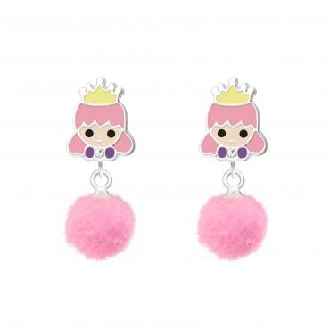 Princess with Pom Pom Earrings