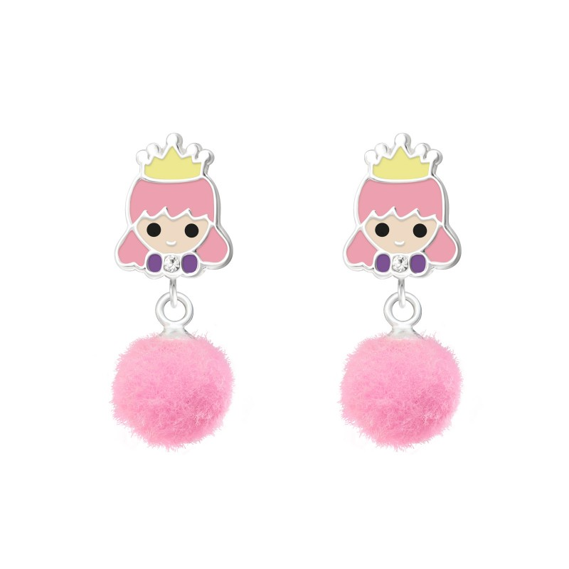 Princess with Pom Pom Earrings