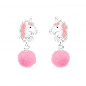 Rose Unicorn Pom Pom Earrings