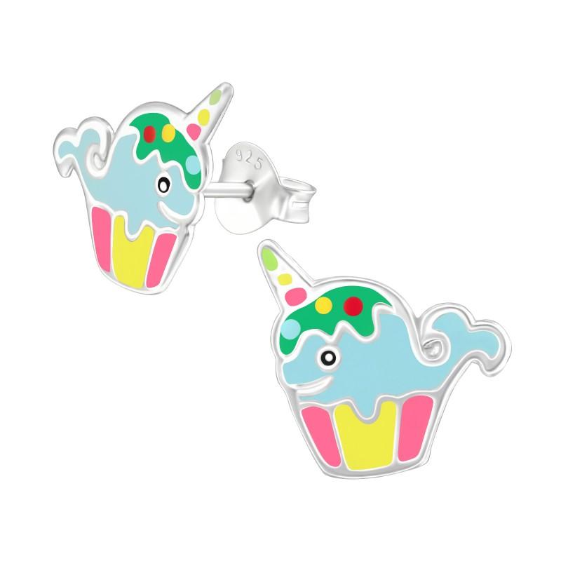 Cute WhaleCorn Cupcake Ear Studs