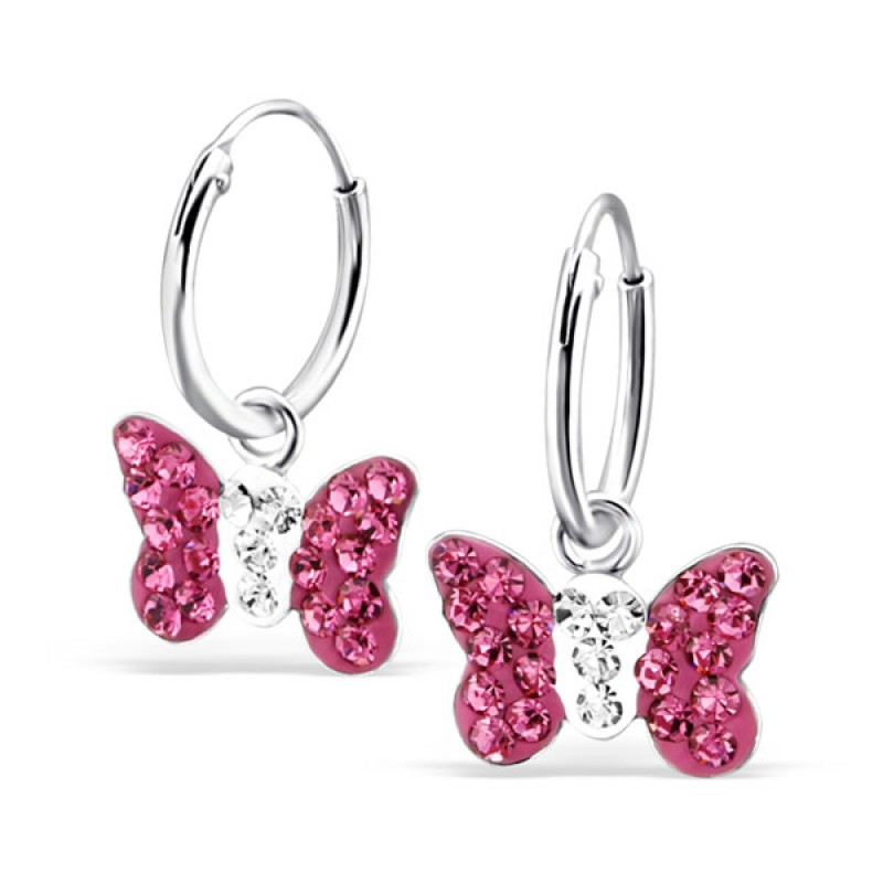 Fuschia Crystal Butterfly Hoops
