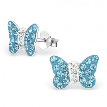 Aqua Butterfly Crystal Ear Studs