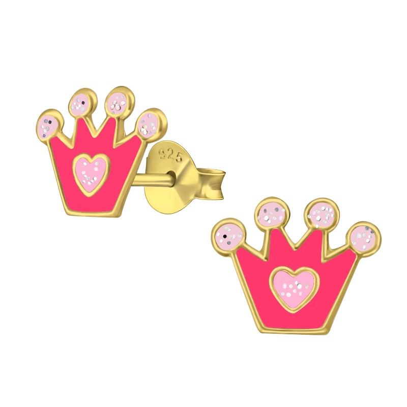 Gold Plated Pink Crown Earrings