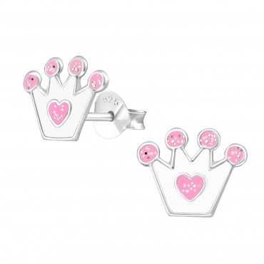 Cute White Crown Heart Ear Studs