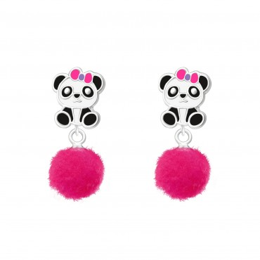Panda with Pom Pom Earrings