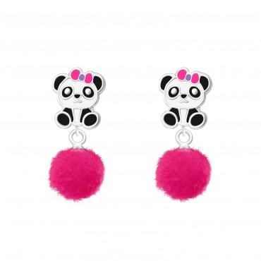 Panda with Pom Pom Earrings