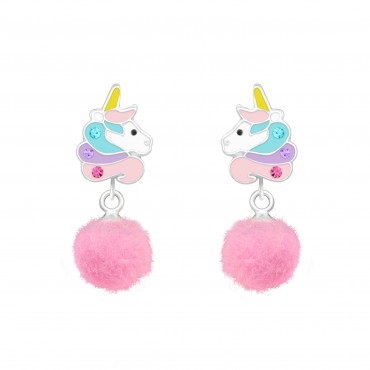 Unicorn with Pom Pom Earrings