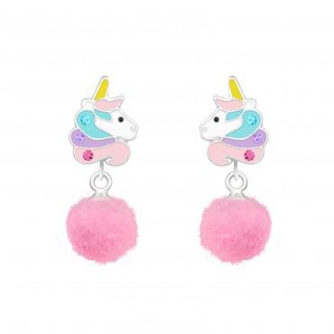 Unicorn with Pom Pom Earrings