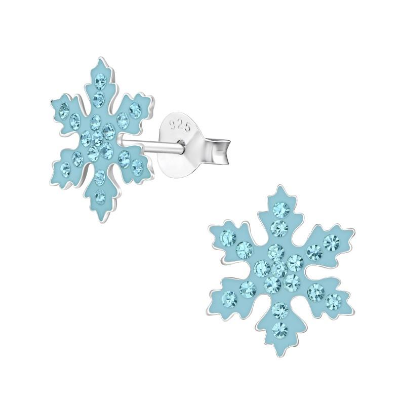 Aqua Crystal Snowflake Ear Studs