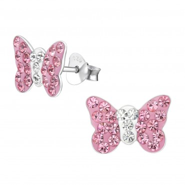 Pink Butterfly Crystal Ear Studs