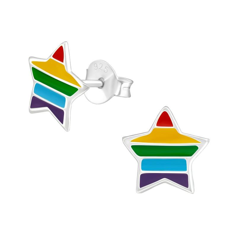 Rainbow Star Ear Studs