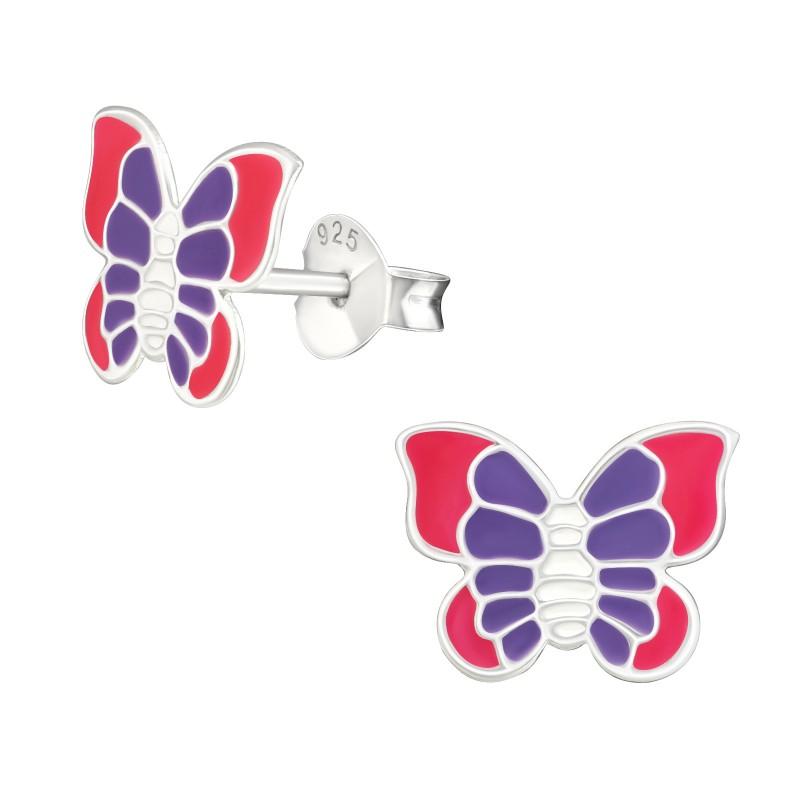 Pink Purple Butterfly Ear Studs