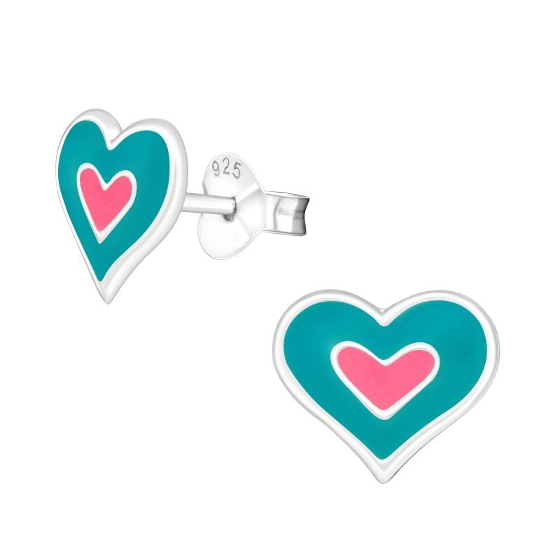 Blue Pink Heart Ear Studs