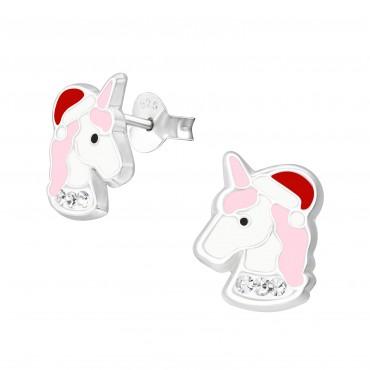Christmas Crystal Unicorn Ear Studs