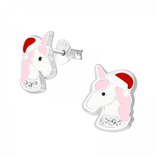 Christmas Crystal Unicorn Ear Studs