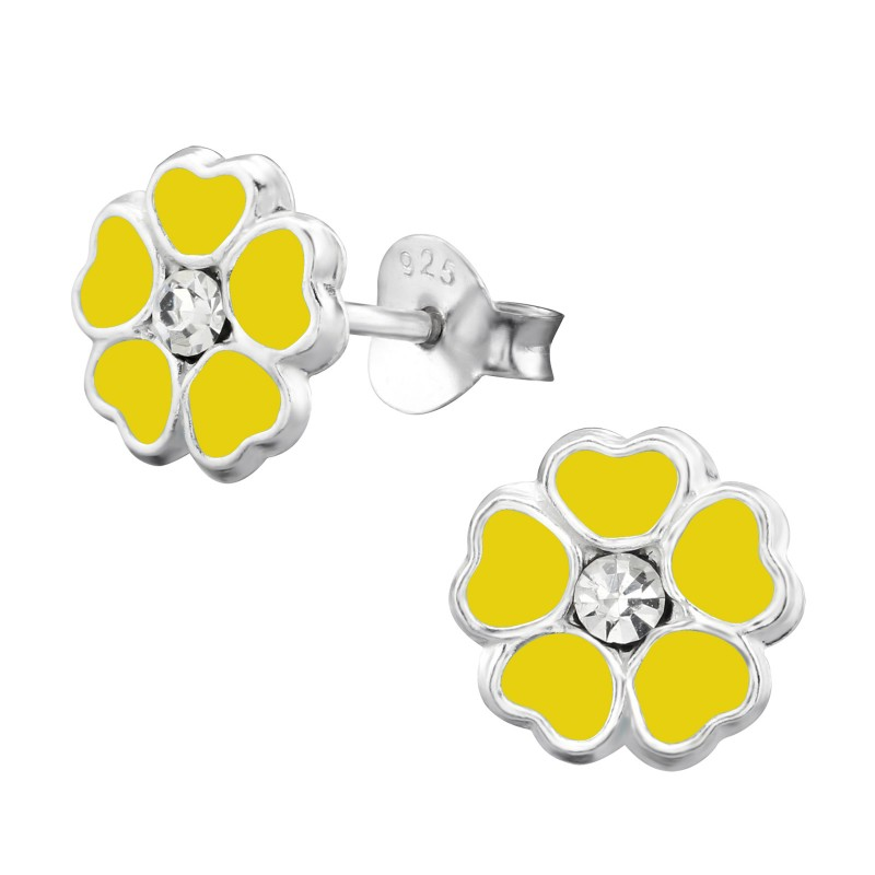 Yellow Flower Crystal Ear Studs