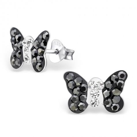 Black Butterfly Crystal Ear Studs