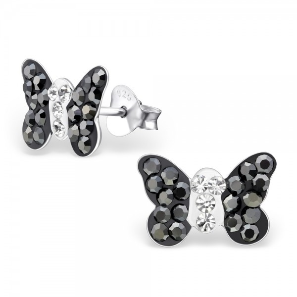 Black Butterfly Crystal Ear Studs
