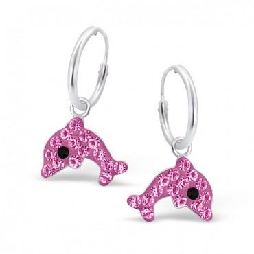 Pink Dolphin Crystal Hoops