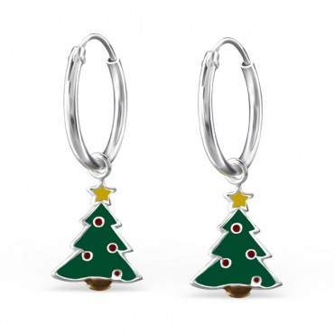 Cute Christmas Tree Hoops