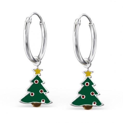 Cute Christmas Tree Hoops
