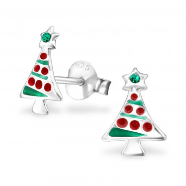 Christmas Tree Crystal Ear Studs