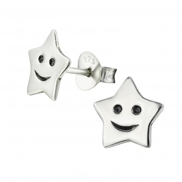 Silver Smiley Star Ear Studs