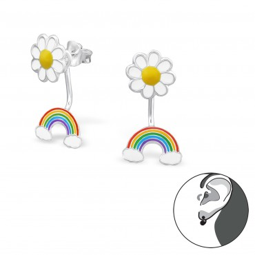 Flower Rainbow Back Earrings