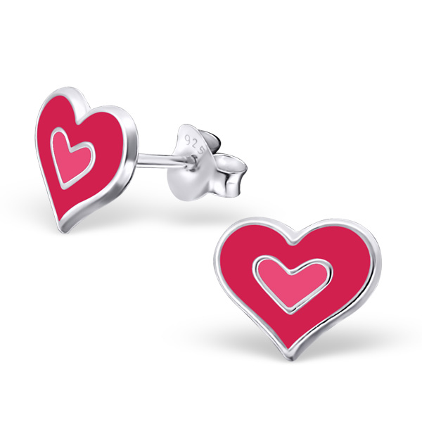 Pinky Heart Ear Studs