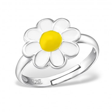 White Yellow Flower Ring
