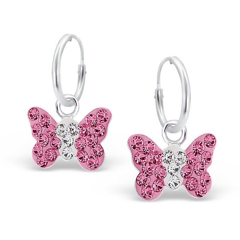 Light Pink Crystal Butterfly Hoops