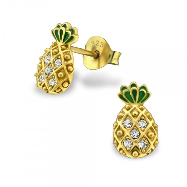 Gold Plated Pineapple Crystal Studs