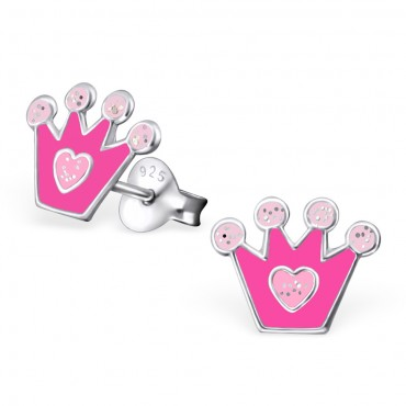 Pink Crown Heart Ear Studs