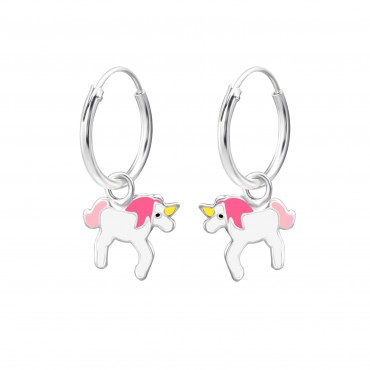 Pink White Unicorn Hoops