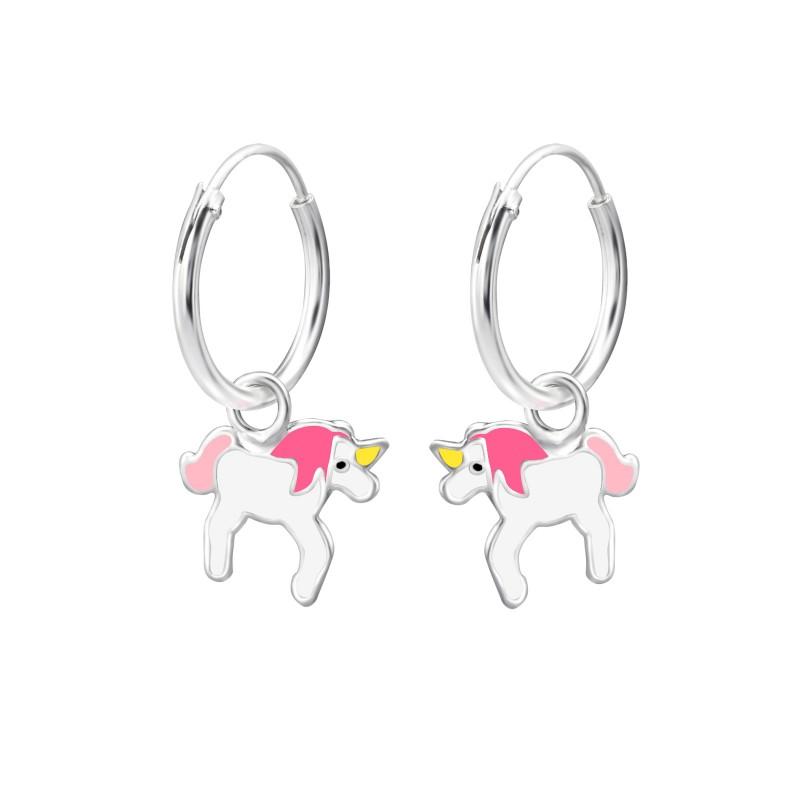 Pink White Unicorn Hoops