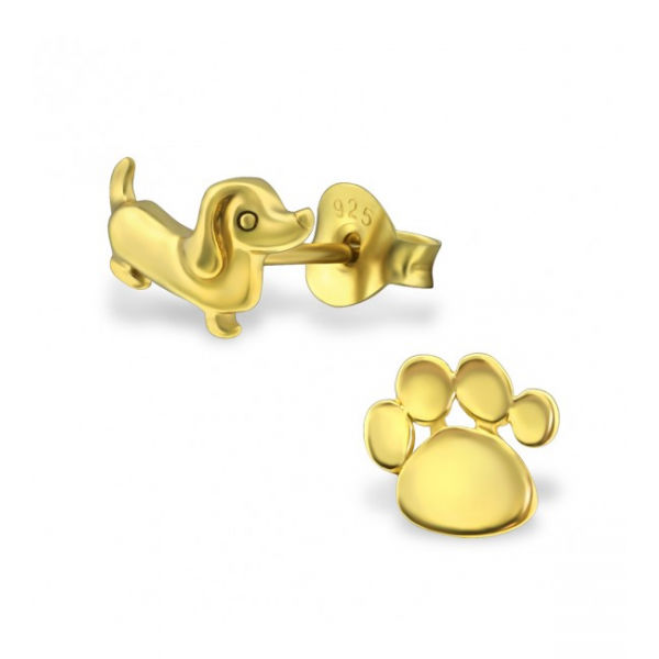 Gold Plated Dog & Paw Earrings
