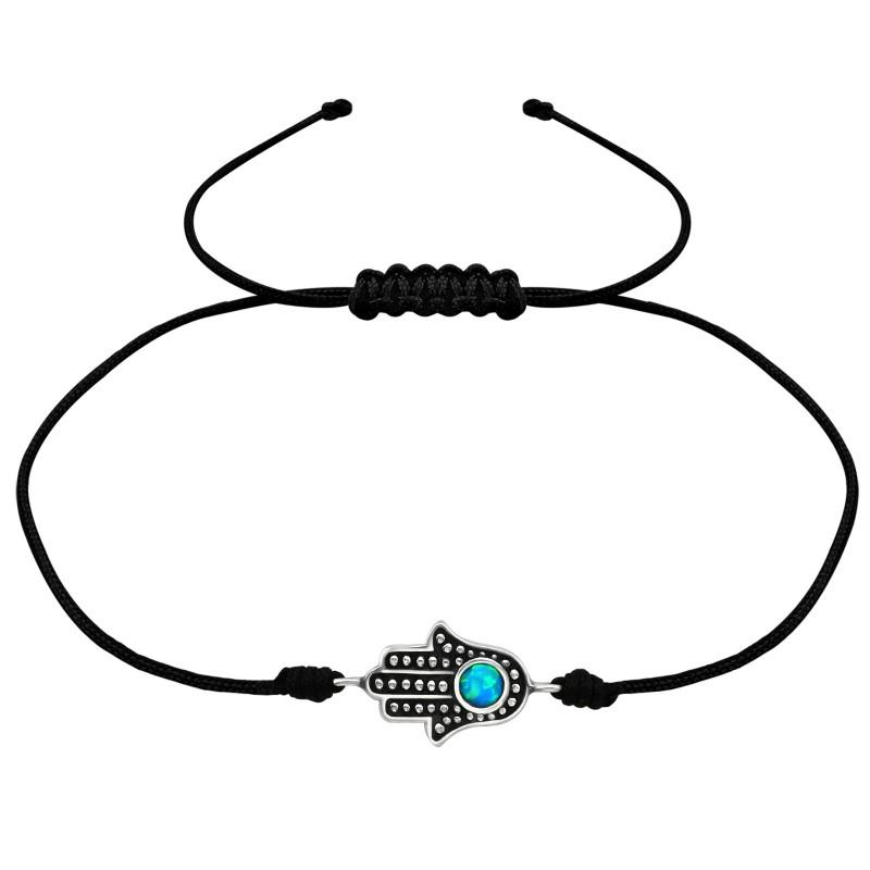Azure Hamza Hand Corded Bracelet