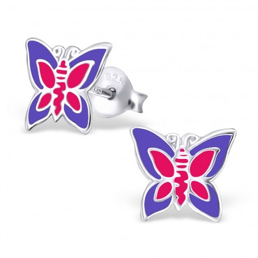 Purple Pink Butterfly Ear Studs