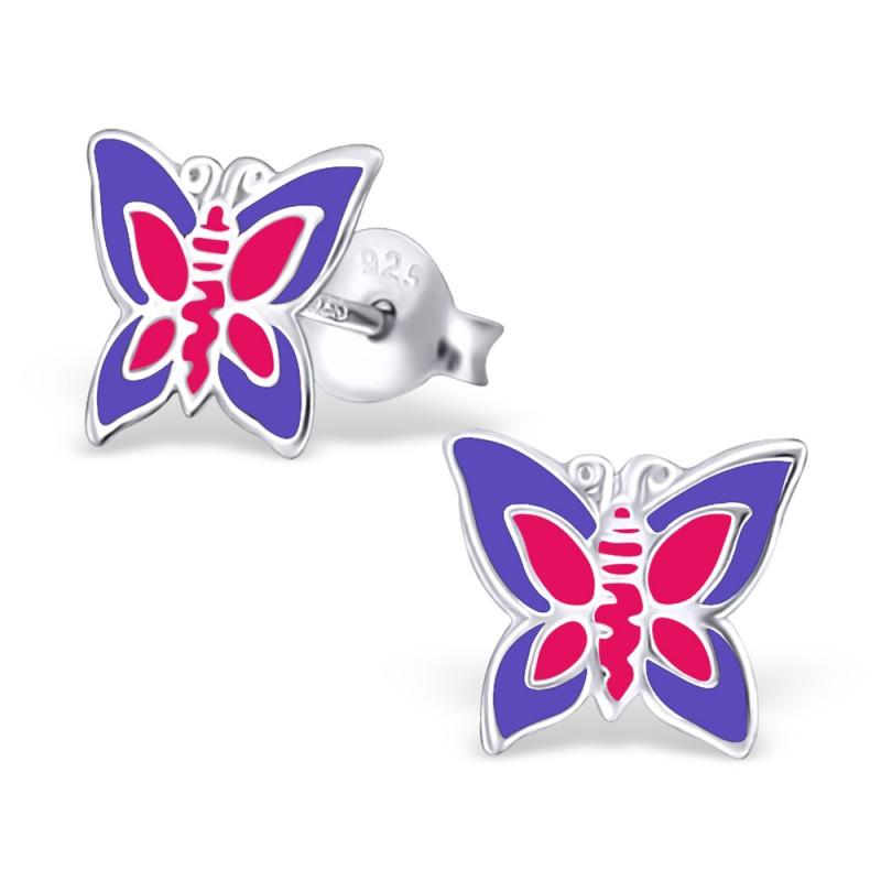Purple Pink Butterfly Ear Studs