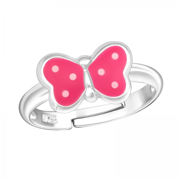 Pink Dotted Butterfly Ring