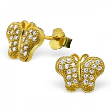 Gold Plated Elegant Butterfly Earrings