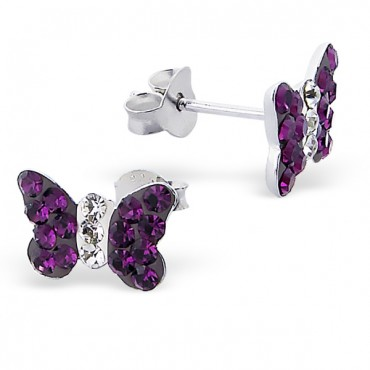 Purple Butterfly Crystal Ear Studs