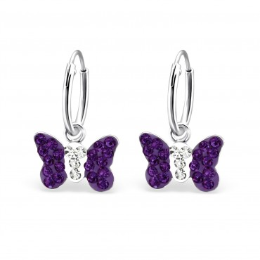 Purple Crystal Butterfly Hoops