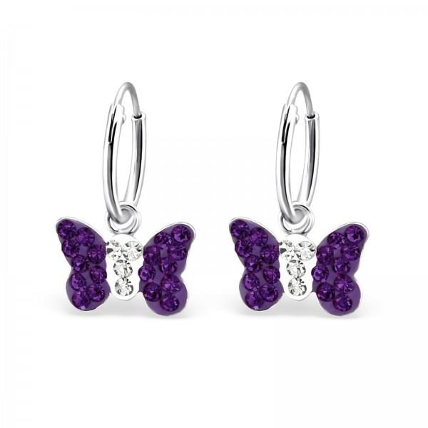 Purple Crystal Butterfly Hoops